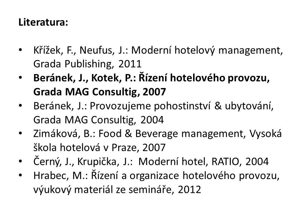 Literatura: Křížek, F., Neufus, J.: Moderní hotelový management, Grada Publishing, 2011 Beránek, J., Kotek, P.: Řízení hotelového provozu, Grada MAG C