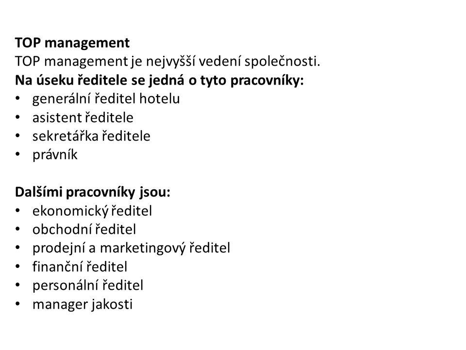 TOP management TOP management je nejvyšší vedení společnosti. Na úseku ředitele se jedná o tyto pracovníky: generální ředitel hotelu asistent ředitele