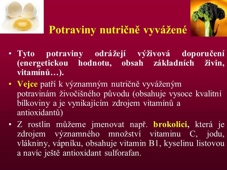 Potraviny nutričně vyvážené Tyto potraviny odrážejí výživová doporučení (energetickou hodnotu, obsah základních živin, vitamínů…). Vejce patří k význa