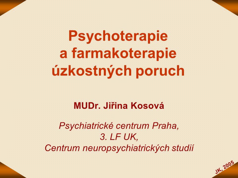 JK, 2005 Psychoterapie a farmakoterapie úzkostných poruch MUDr. Jiřina Kosová Psychiatrické centrum Praha, 3. LF UK, Centrum neuropsychiatrických stud