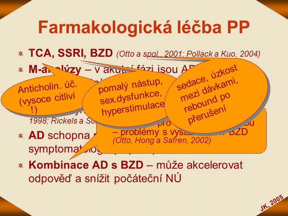 JK, 2005 Farmakologická léčba PP TCA, SSRI, BZD (Otto a spol., 2001; Pollack a Kuo, 2004) M-analýzy – v akutní fázi jsou AD i vysokopotentní BZD efekt