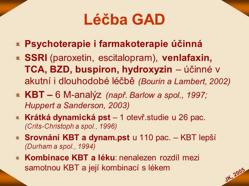JK, 2005 Léčba GAD Psychoterapie i farmakoterapie účinná SSRI (paroxetin, escitalopram), venlafaxin, TCA, BZD, buspiron, hydroxyzin – účinné v akutní