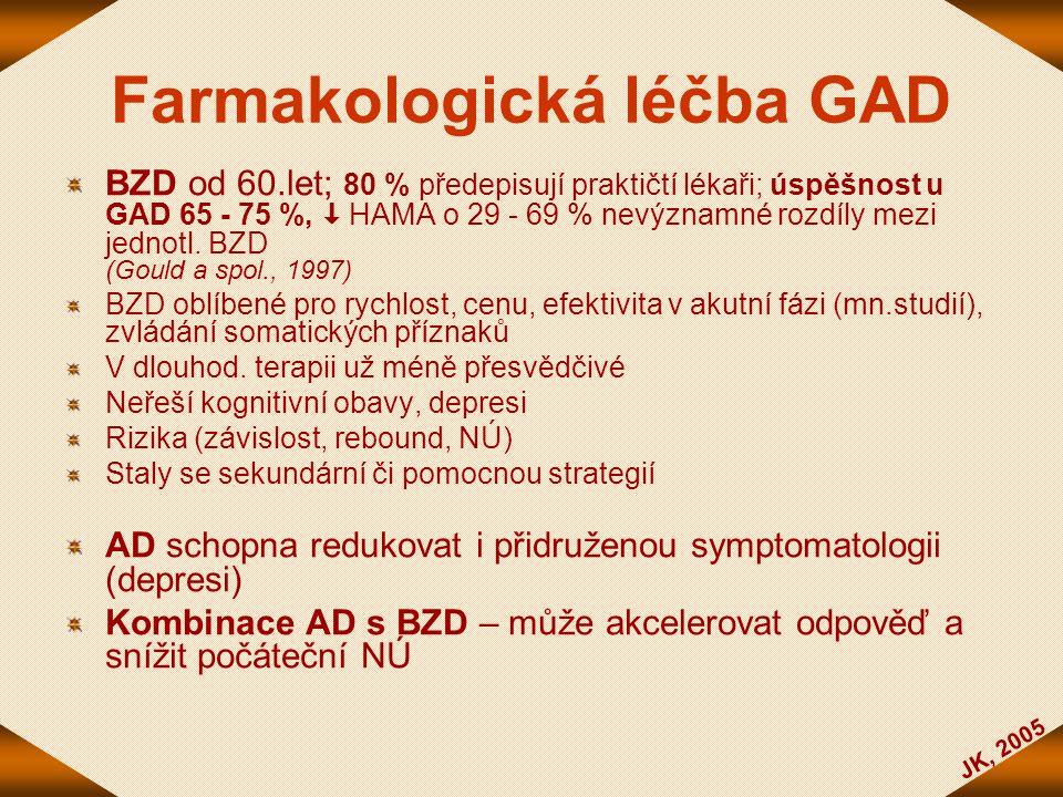 JK, 2005 Farmakologická léčba GAD BZD od 60.let; 80 % předepisují praktičtí lékaři; úspěšnost u GAD 65 - 75 %,  HAMA o 29 - 69 % nevýznamné rozdíly m