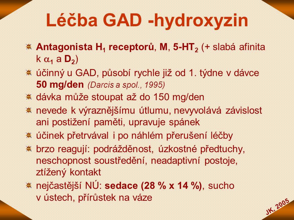 JK, 2005 Léčba GAD -hydroxyzin Antagonista H 1 receptorů, M, 5-HT 2 (+ slabá afinita k  1 a D 2 ) účinný u GAD, působí rychle již od 1. týdne v dávce