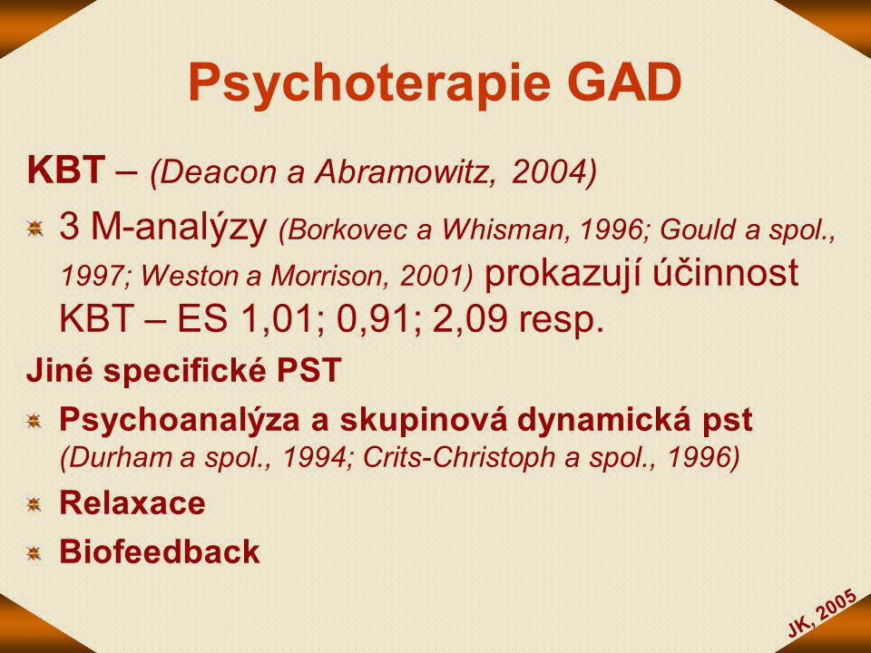 Psychoterapie GAD KBT – (Deacon a Abramowitz, 2004) 3 M-analýzy (Borkovec a Whisman, 1996; Gould a spol., 1997; Weston a Morrison, 2001) prokazují úči