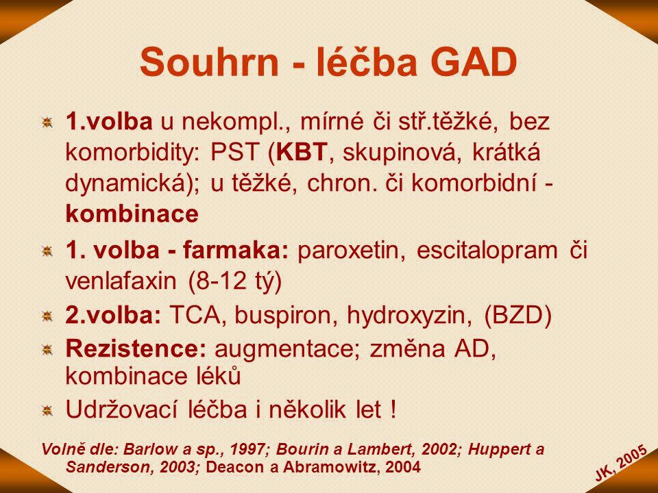 JK, 2005 Souhrn - léčba GAD 1.volba u nekompl., mírné či stř.těžké, bez komorbidity: PST (KBT, skupinová, krátká dynamická); u těžké, chron. či komorb