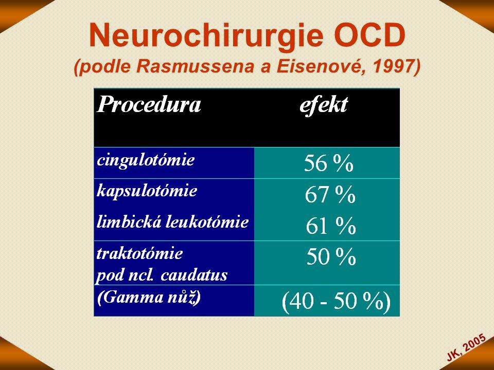 JK, 2005 Neurochirurgie OCD (podle Rasmussena a Eisenové, 1997)