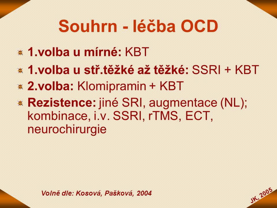 JK, 2005 Souhrn - léčba OCD 1.volba u mírné: KBT 1.volba u stř.těžké až těžké: SSRI + KBT 2.volba: Klomipramin + KBT Rezistence: jiné SRI, augmentace