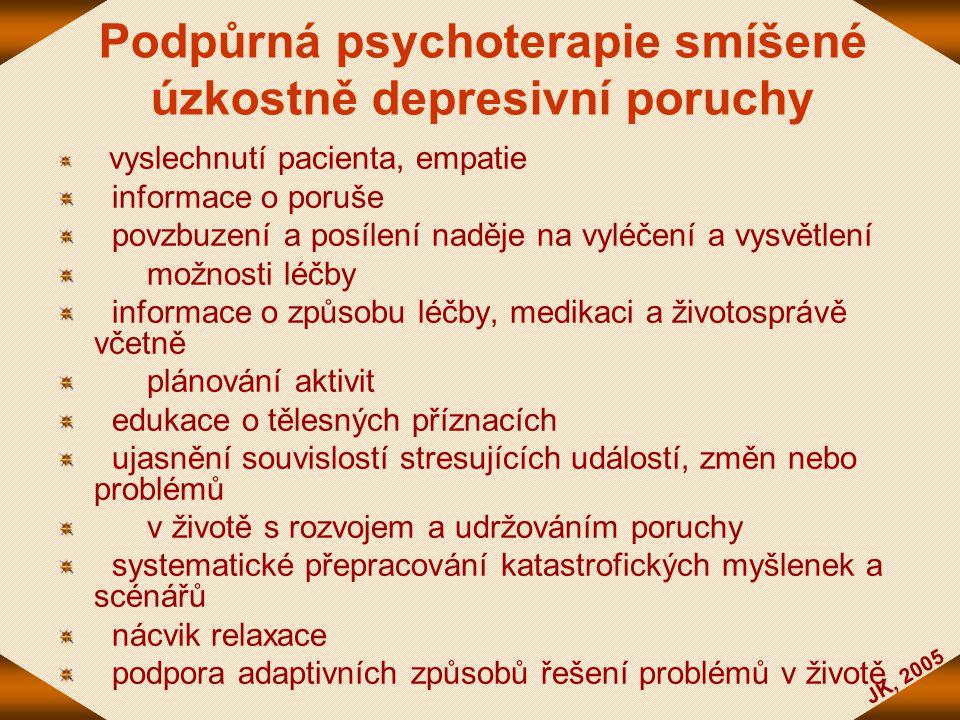 JK, 2005 Podpůrná psychoterapie smíšené úzkostně depresivní poruchy vyslechnutí pacienta, empatie informace o poruše povzbuzení a posílení naděje na v