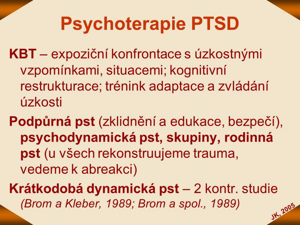 JK, 2005 Psychoterapie PTSD KBT – expoziční konfrontace s úzkostnými vzpomínkami, situacemi; kognitivní restrukturace; trénink adaptace a zvládání úzk