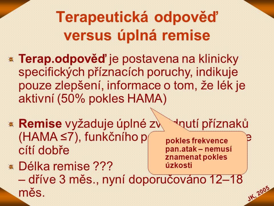 JK, 2005 Terapeutická odpověď versus úplná remise Terap.odpověď je postavena na klinicky specifických příznacích poruchy, indikuje pouze zlepšení, inf