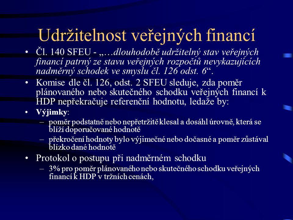 """Veřejné zadlužení """" poměr veřejného zadlužení k HDP překročí referenční hodnotu ( v protokolu o postupu při nadměrném schodku čl."""