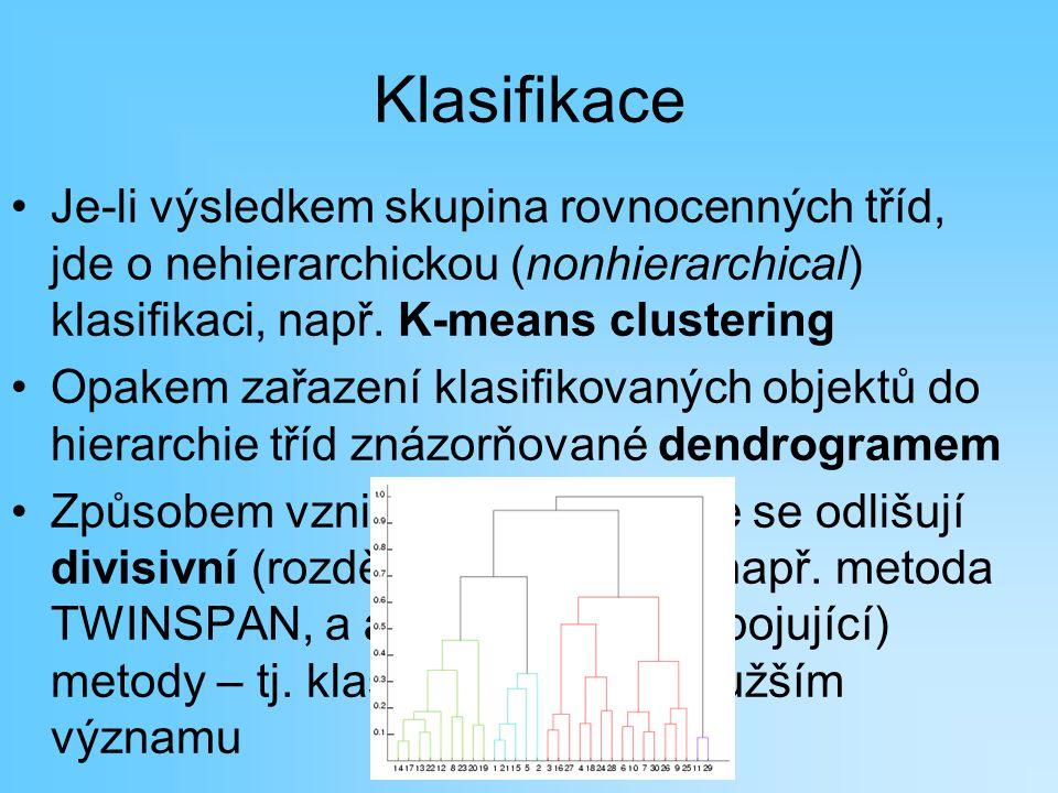 Klasifikace Je-li výsledkem skupina rovnocenných tříd, jde o nehierarchickou (nonhierarchical) klasifikaci, např. K-means clustering Opakem zařazení k