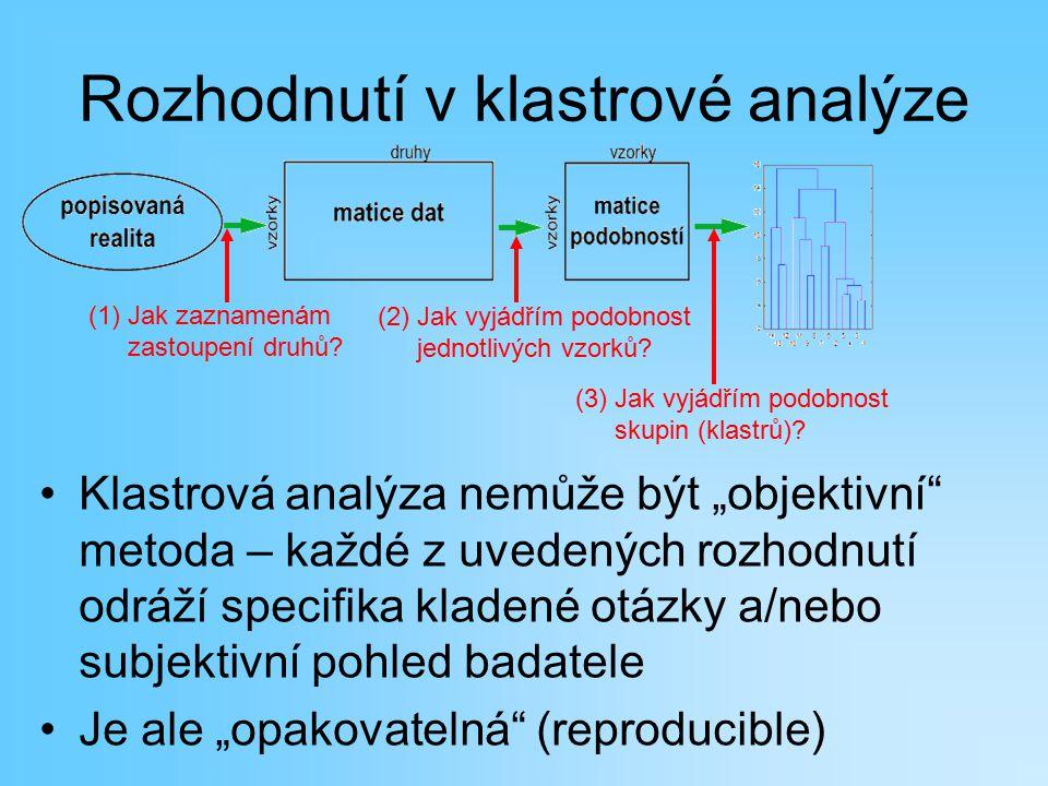 """Rozhodnutí v klastrové analýze Klastrová analýza nemůže být """"objektivní"""" metoda – každé z uvedených rozhodnutí odráží specifika kladené otázky a/nebo"""