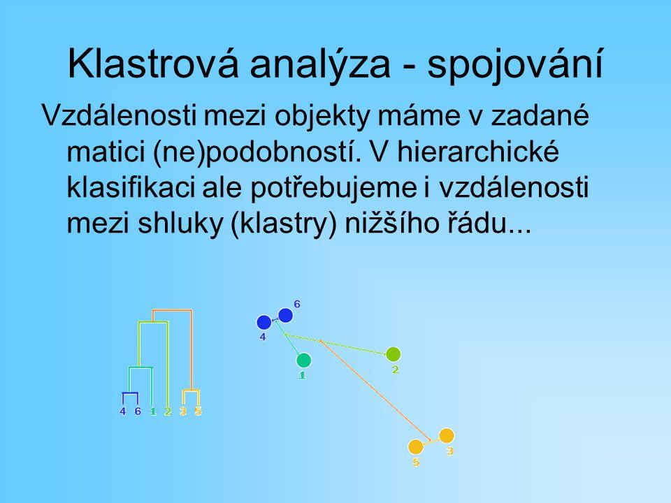 Klastrová analýza - spojování Vzdálenosti mezi objekty máme v zadané matici (ne)podobností. V hierarchické klasifikaci ale potřebujeme i vzdálenosti m