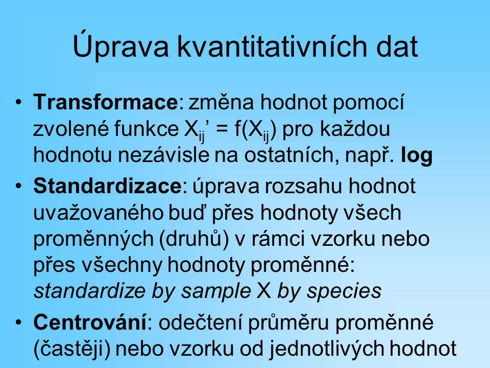 Úprava kvantitativních dat Transformace: změna hodnot pomocí zvolené funkce X ij ' = f(X ij ) pro každou hodnotu nezávisle na ostatních, např. log Sta