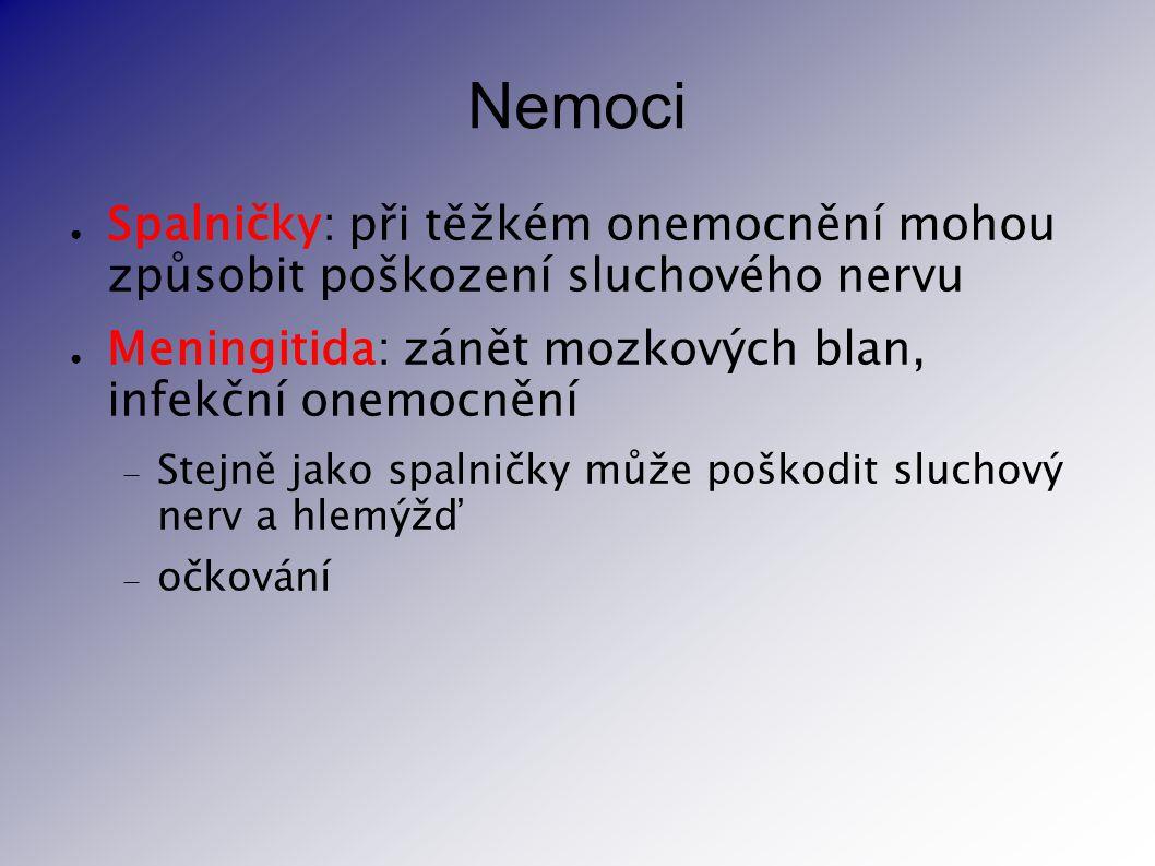 Nemoci ● Spalničky: při těžkém onemocnění mohou způsobit poškození sluchového nervu ● Meningitida: zánět mozkových blan, infekční onemocnění  Stejně