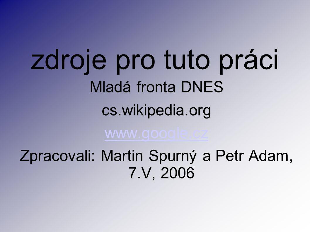 zdroje pro tuto práci Mladá fronta DNES cs.wikipedia.org www.google.cz Zpracovali: Martin Spurný a Petr Adam, 7.V, 2006
