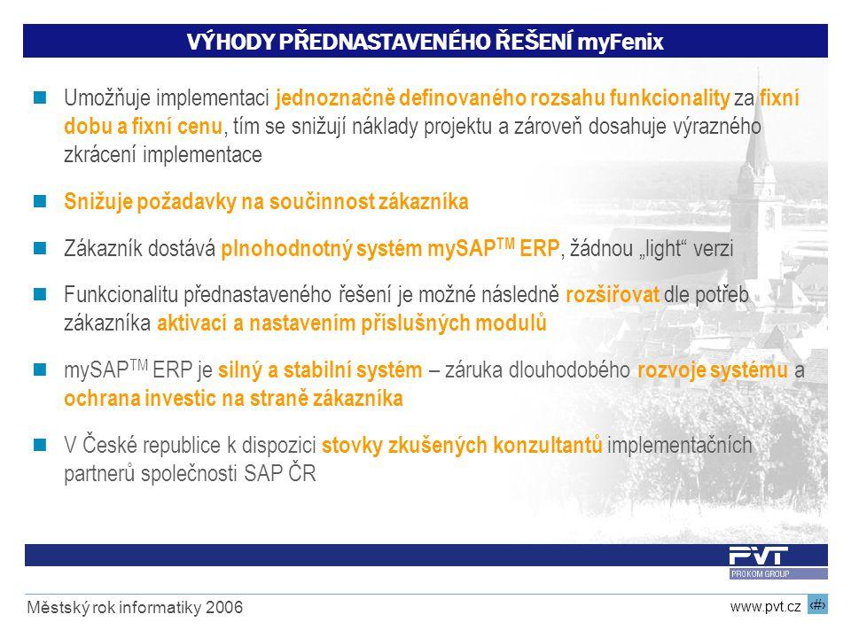 18 www.pvt.cz Městský rok informatiky 2006 VÝHODY PŘEDNASTAVENÉHO ŘEŠENÍ myFenix Umožňuje implementaci jednoznačně definovaného rozsahu funkcionality