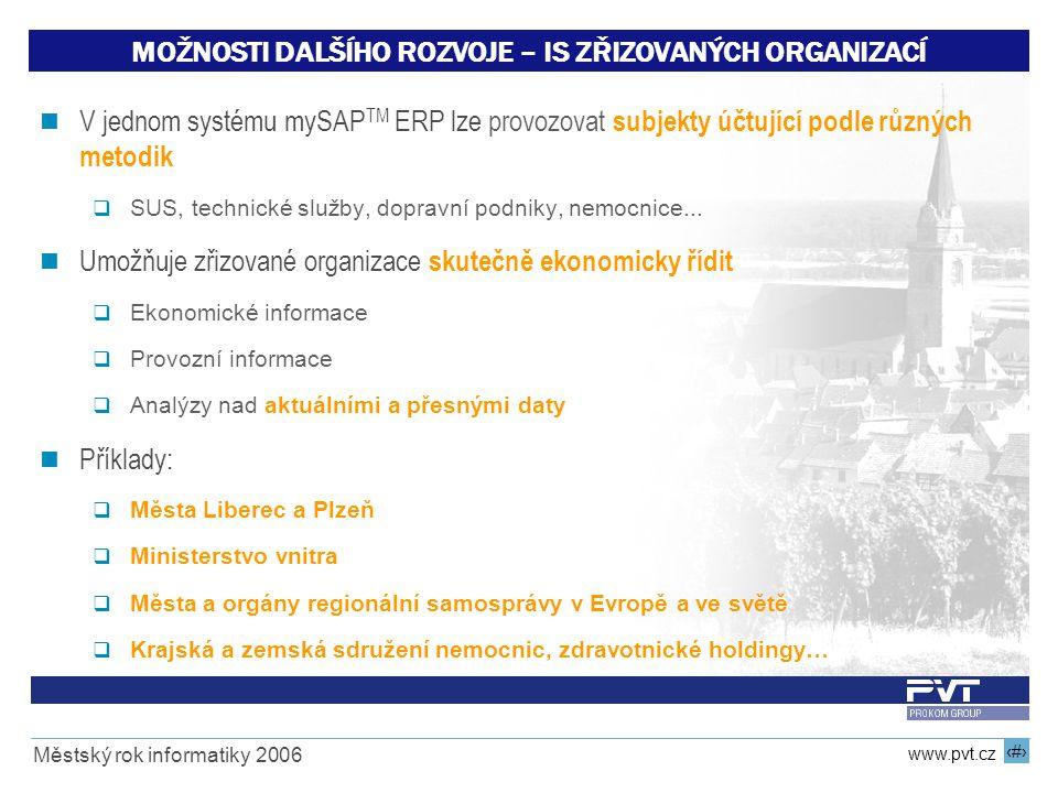 19 www.pvt.cz Městský rok informatiky 2006 MOŽNOSTI DALŠÍHO ROZVOJE – IS ZŘIZOVANÝCH ORGANIZACÍ V jednom systému mySAP TM ERP lze provozovat subjekty