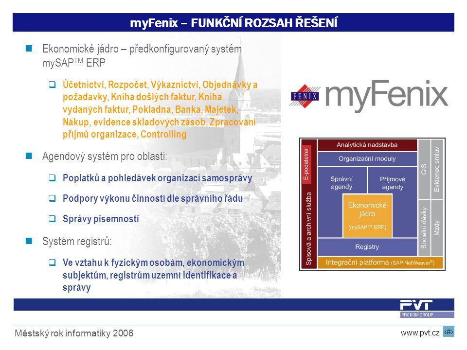 9 www.pvt.cz Městský rok informatiky 2006 Ekonomické jádro – předkonfigurovaný systém mySAP TM ERP  Účetnictví, Rozpočet, Výkaznictví, Objednávky a p