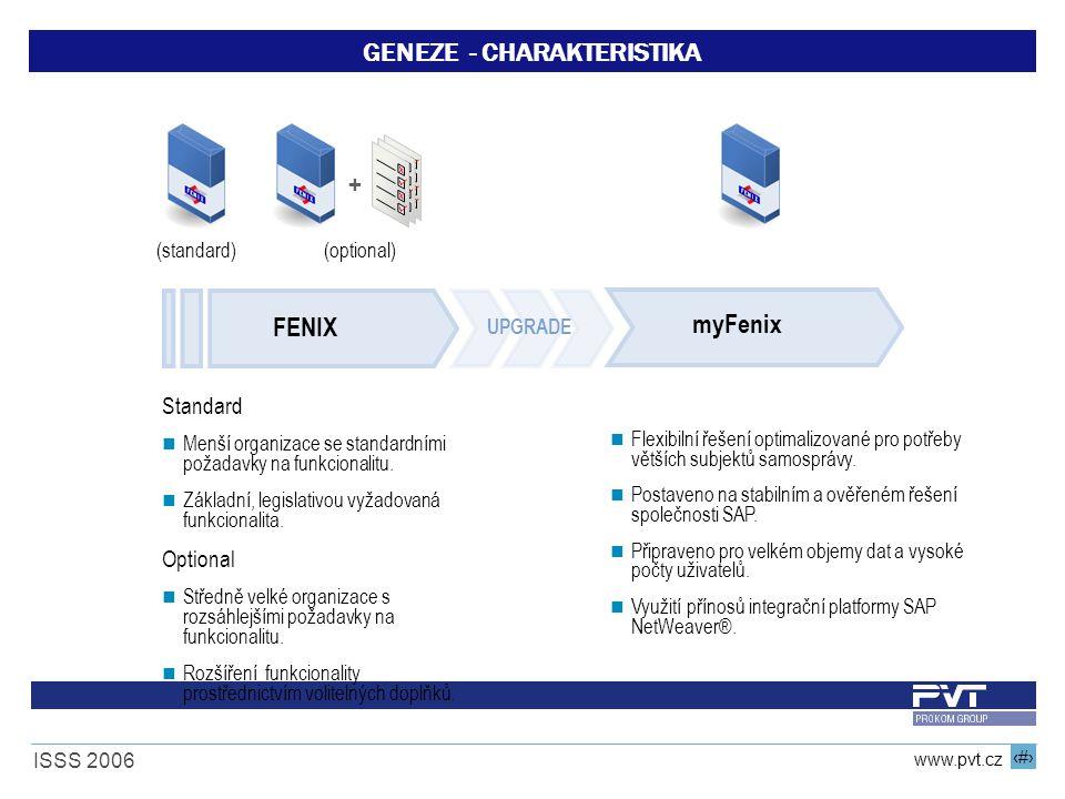 12 www.pvt.cz ISSS 2006 GENEZE - CHARAKTERISTIKA Standard Menší organizace se standardními požadavky na funkcionalitu. Základní, legislativou vyžadova