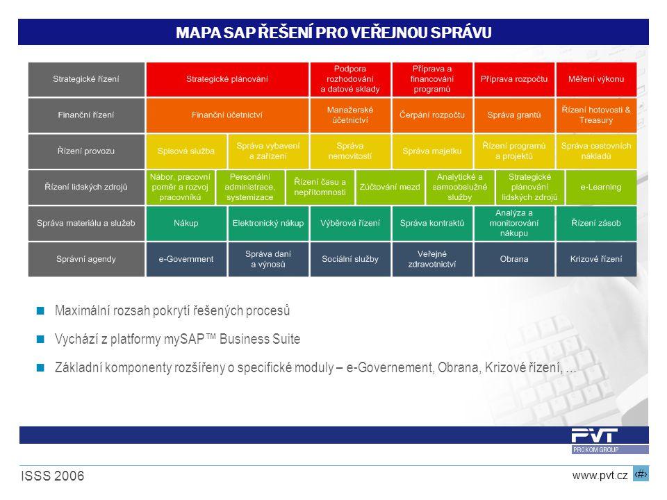 14 www.pvt.cz ISSS 2006 MAPA SAP ŘEŠENÍ PRO VEŘEJNOU SPRÁVU Maximální rozsah pokrytí řešených procesů Vychází z platformy mySAP™ Business Suite Základ