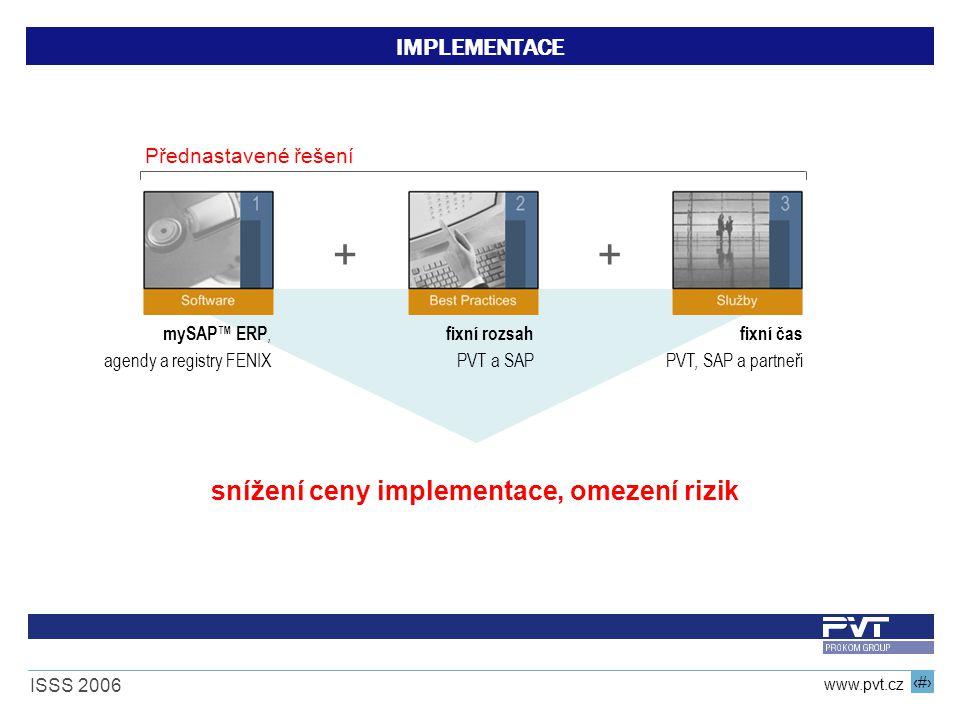 17 www.pvt.cz ISSS 2006 IMPLEMENTACE ++ fixní čas PVT, SAP a partneři fixní rozsah PVT a SAP mySAP™ ERP, agendy a registry FENIX snížení ceny implemen