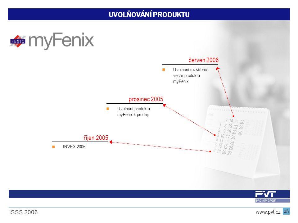 19 www.pvt.cz ISSS 2006 UVOLŇOVÁNÍ PRODUKTU říjen 2005 prosinec 2005 červen 2006 INVEX 2005 Uvolnění produktu myFenix k prodeji Uvolnění rozšířené ver