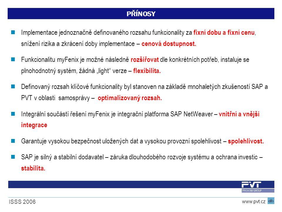 20 www.pvt.cz ISSS 2006 PŘÍNOSY Implementace jednoznačně definovaného rozsahu funkcionality za fixní dobu a fixní cenu, snížení rizika a zkrácení doby