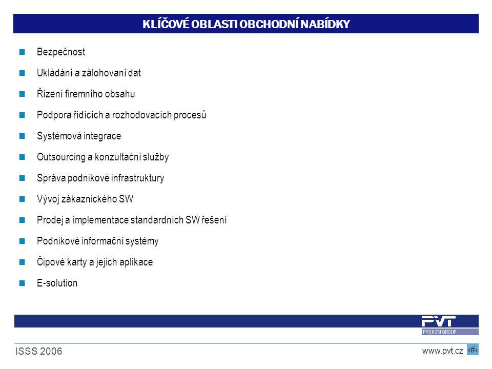 5 www.pvt.cz ISSS 2006 KLÍČOVÉ OBLASTI OBCHODNÍ NABÍDKY Bezpečnost Ukládání a zálohovaní dat Řízení firemního obsahu Podpora řídících a rozhodovacích