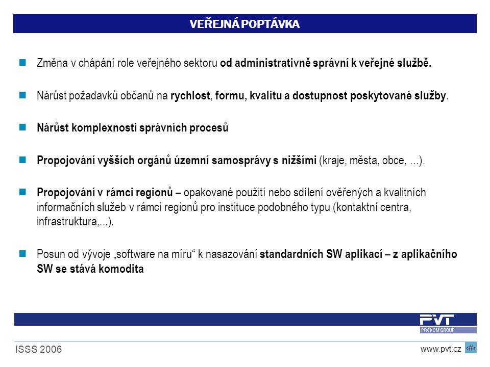 7 www.pvt.cz ISSS 2006 VEŘEJNÁ POPTÁVKA Změna v chápání role veřejného sektoru od administrativně správní k veřejné službě. Nárůst požadavků občanů na