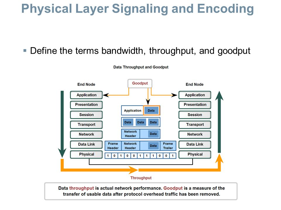 Physical Layer Signaling and Encoding  Define the terms bandwidth, throughput, and goodput