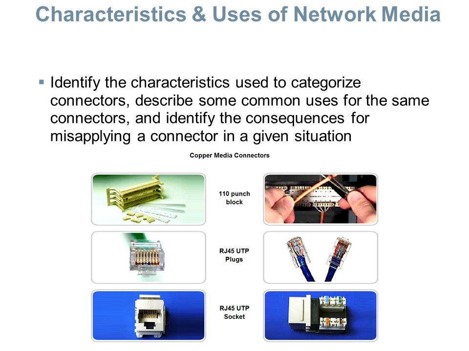 Characteristics & Uses of Network Media  Identify the characteristics used to categorize connectors, describe some common uses for the same connectors, and identify the consequences for misapplying a connector in a given situation