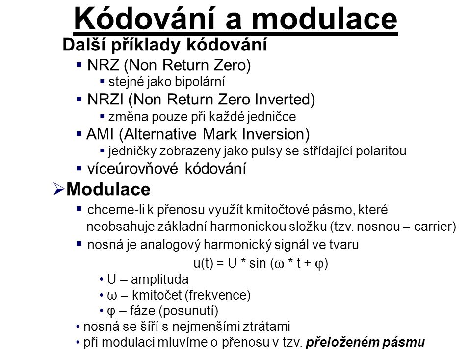 Další příklady kódování  NRZ (Non Return Zero)  stejné jako bipolární  NRZI (Non Return Zero Inverted)  změna pouze při každé jedničce  AMI (Alte