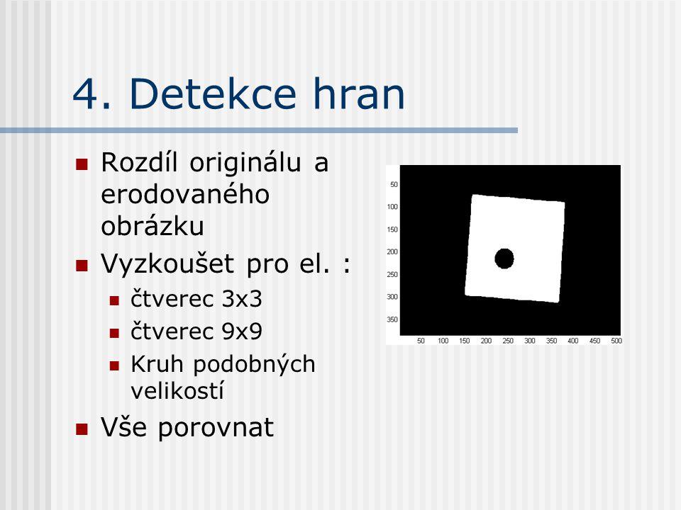 4. Detekce hran Rozdíl originálu a erodovaného obrázku Vyzkoušet pro el.