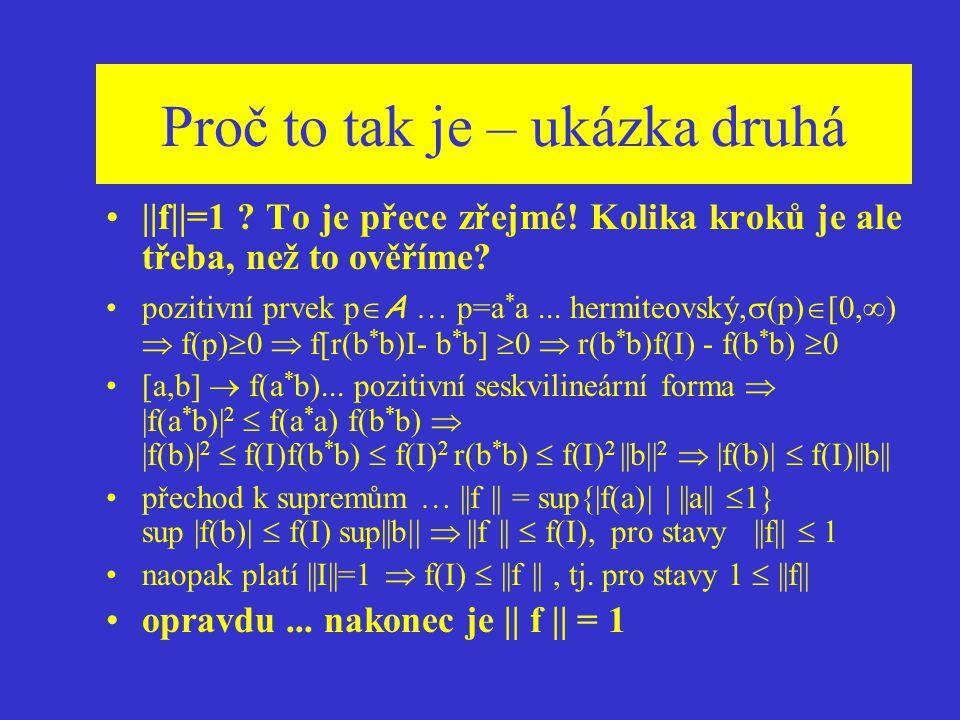 Stavy na C * - algebře Stav na C * - algebře lineární funkcionál f : A  C, pozitivní... f(a * a)  0 ||f || = sup{|f(a)| | ||a||  1}, pro algebru s