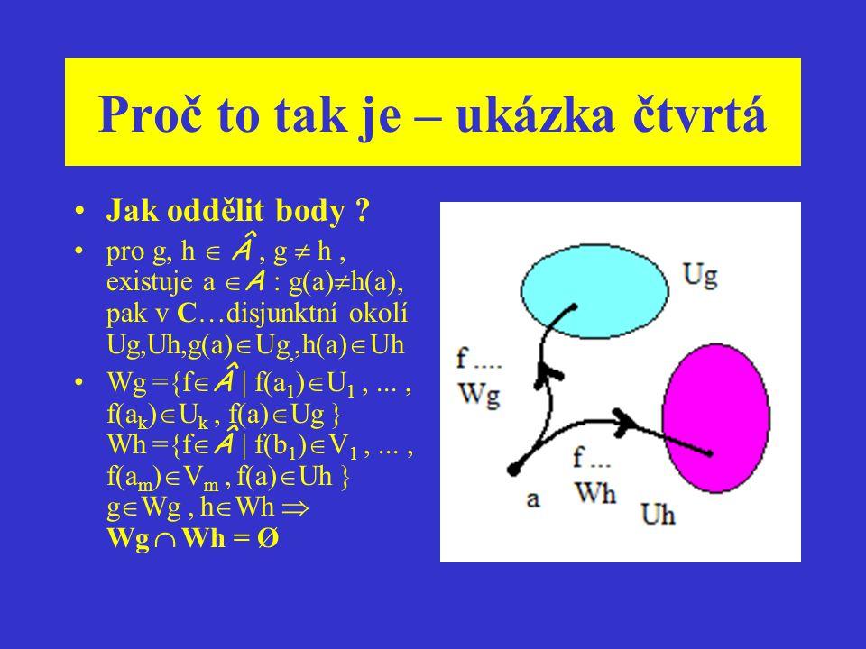 Proč to tak je – ukázka čtvrtá Jak souvisí kompaktnost prostoru charakterů s jednotkou algebry ? Obecně – prostor charakterů s topologií bodové konver