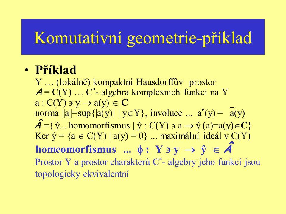 Komutativní geometrie-jinak Ekvivalentní konstrukce … prostor maximálních ideálů algebry A jádra ireducibilních reprezentací … maximální ideály v A