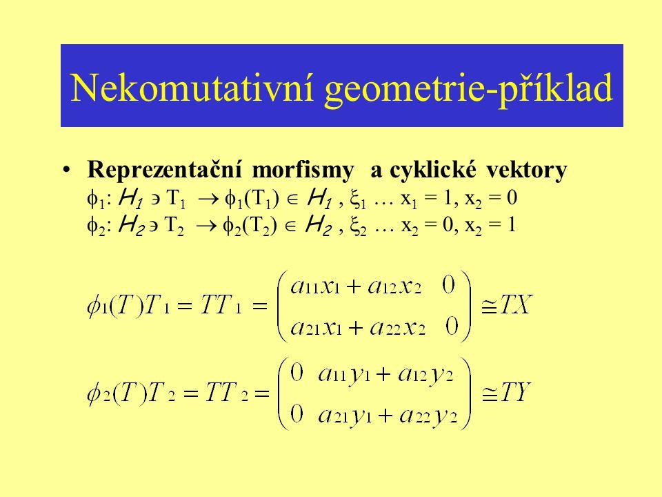 Nekomutativní geometrie-příklad Asociované Hilbertovy prostory H 1 =M 2 (C)/ N 1 = {T 1 | a 11 = x 1, a 21 = x 2, a 12 = a 22 =0}  C 2 H 2 =M 2 (C)/