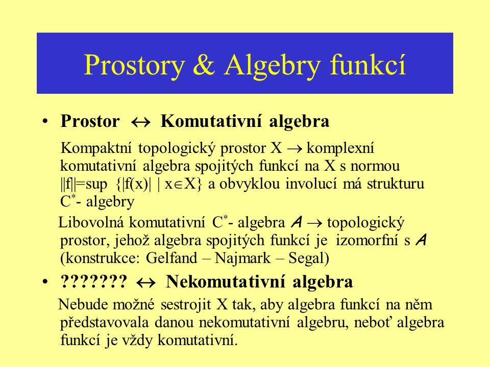 Vzdálenosti a okolí & Operace Topologická struktura X … [lokálně] kompaktní prostor Algebraická struktura... komutativní algebra [C 0 (X)] C(X)... [mi
