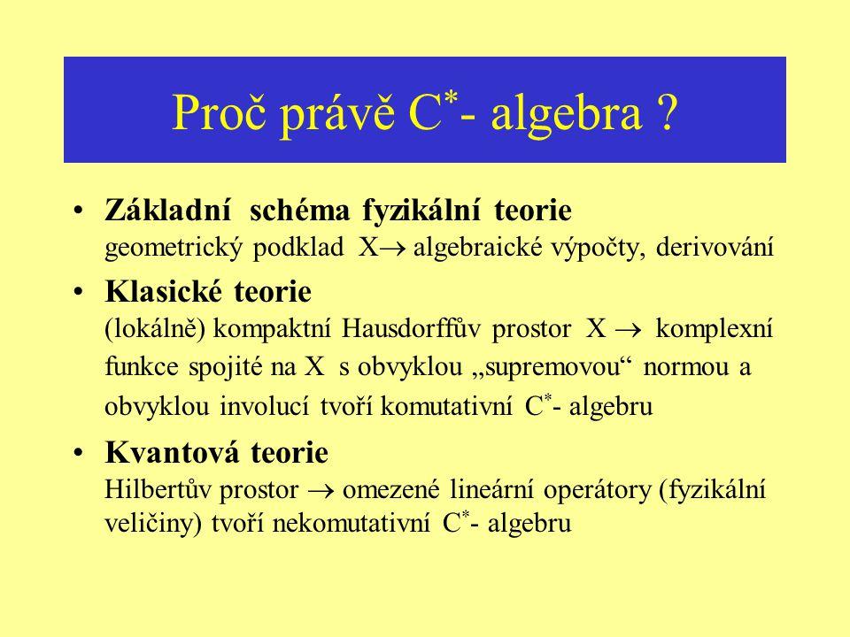 Prostory & Algebry funkcí Prostor  Komutativní algebra Kompaktní topologický prostor X  komplexní komutativní algebra spojitých funkcí na X s normou