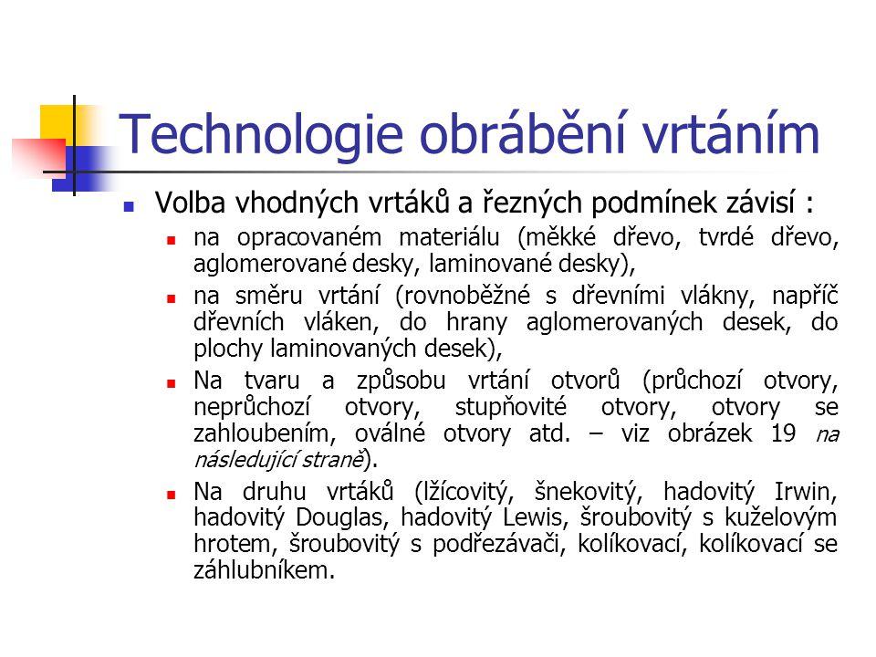 Technologie obrábění vrtáním Základní způsoby vrtání a)Neprůchozí otvor, b)Průchozí otvor stupňovitý napříč dřevních vláken, c)Průchozí otvor kruhový,