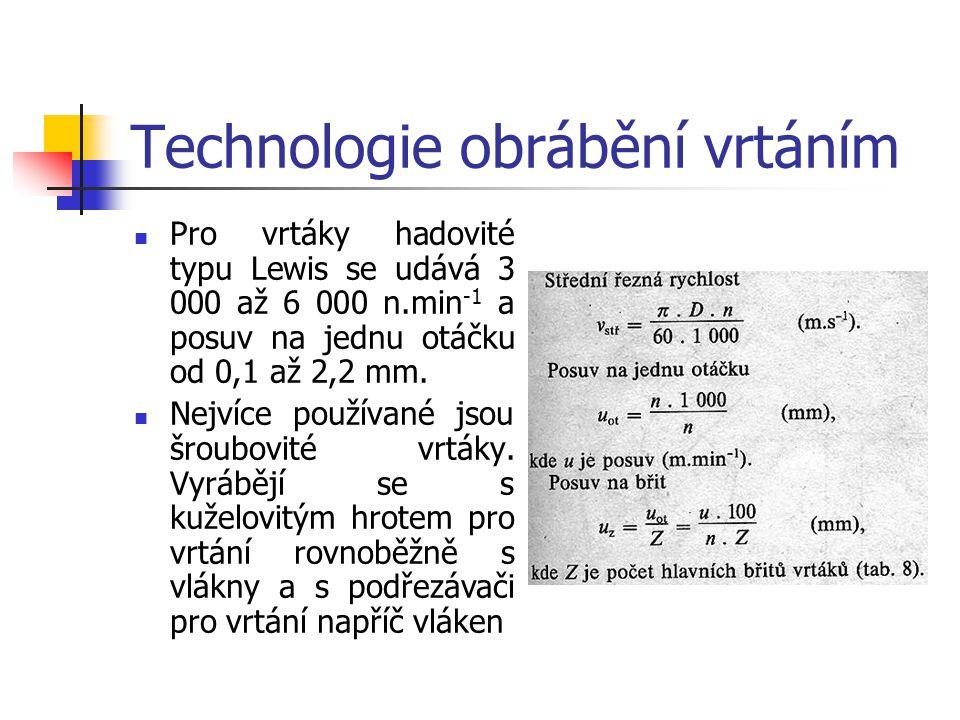 Technologie obrábění vrtáním Kinematika vrtání a řezné podmínky Při nezměněných otáčkách a stejném posuvu opisují jednotlivé body břitu šroubovici o s