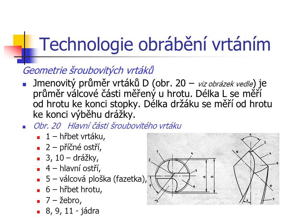 Technologie obrábění vrtáním Tab. 8 Doporučované řezné podmínky pro šroubovité vrtáky Pro zhotovování kolíkových spojů se šroubovité vrtáky vyrábějí v
