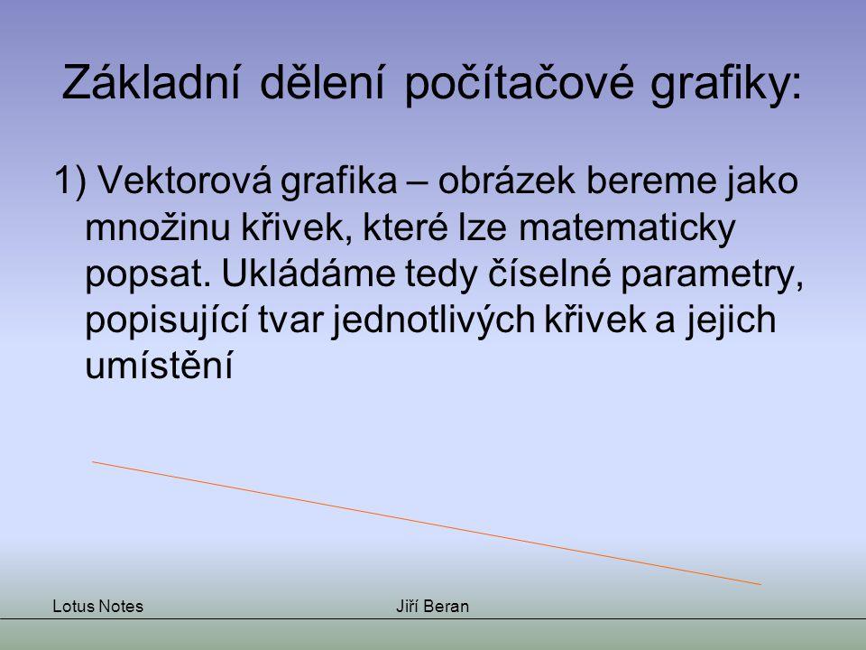 Lotus NotesJiří Beran Základní dělení počítačové grafiky: 2) Bitmapová (=rastrová) grafika – obrázek vnímáme jako skupinu různobarevných bodů – jakousi mozaiku