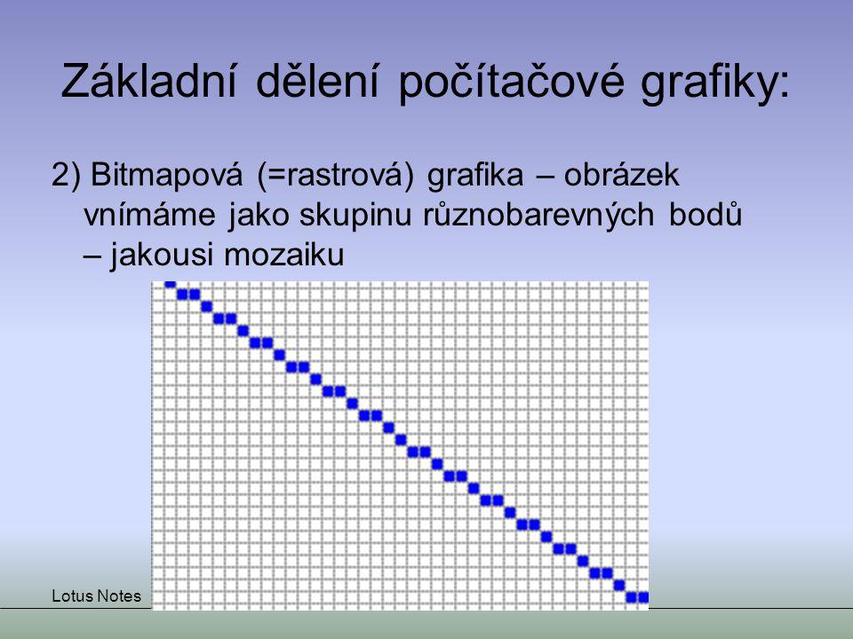 Lotus NotesJiří Beran Základní dělení počítačové grafiky: 2) Bitmapová (=rastrová) grafika – obrázek vnímáme jako skupinu různobarevných bodů – jakous