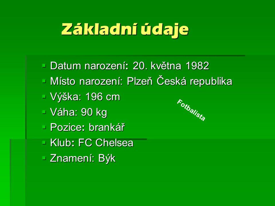 Základní údaje Základní údaje  Datum narození: 20. května 1982  Místo narození: Plzeň Česká republika  Výška: 196 cm  Váha: 90 kg  Pozice: branká