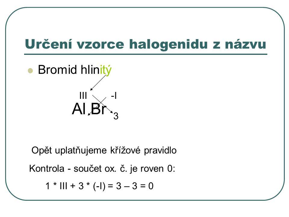 Určení vzorce halogenidu z názvu Bromid hlinitý Al -I Br III 3 Opět uplatňujeme křížové pravidlo Kontrola - součet ox. č. je roven 0: 1 * III + 3 * (-