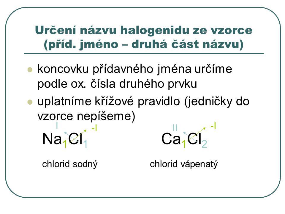 Určení názvu halogenidu ze vzorce (příd. jméno – druhá část názvu) koncovku přídavného jména určíme podle ox. čísla druhého prvku uplatníme křížové pr